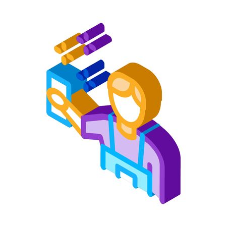 Human Cleaning Icon Vector. Isometric Human Cleaning sign. color isolated symbol illustration 矢量图片