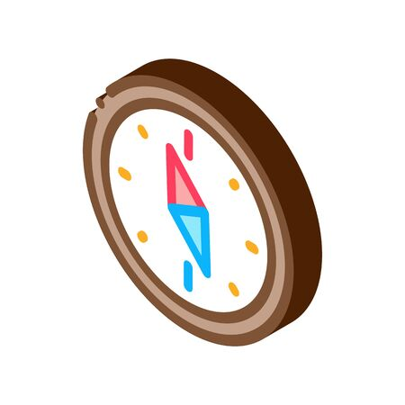 Navigational Compass Tool Icon Vector. Isometric Compass Searching Way, Direction And Orientation Equipment sign. color isolated symbol illustration  イラスト・ベクター素材