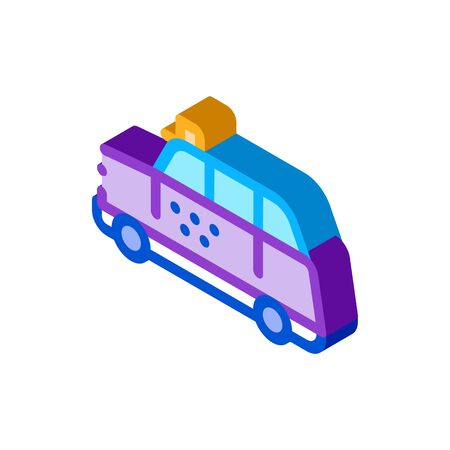 bus taxi icon vector. isometric bus taxi sign. color isolated symbol illustration