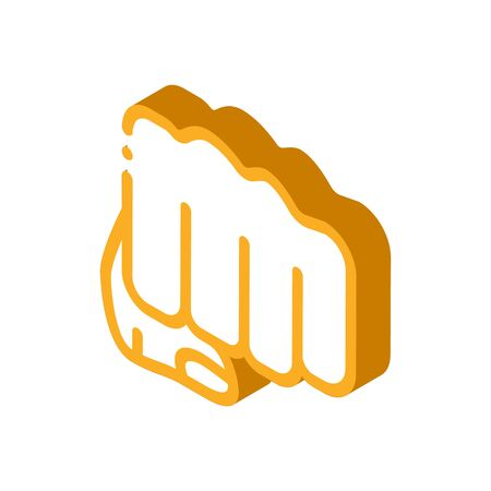 Boxer Fist Punch Icon Vector. Isometric Boxer Fist Punch sign. color isolated symbol illustration