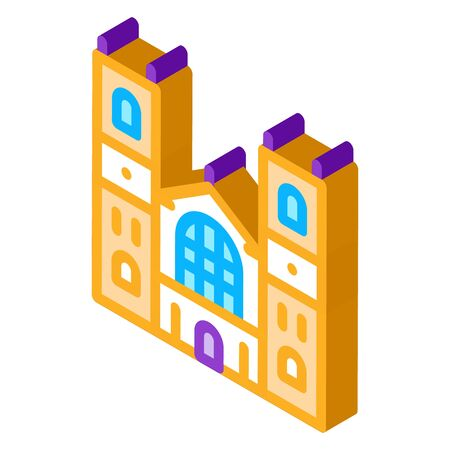 castle facade icon vector. isometric castle facade sign. color isolated symbol illustration