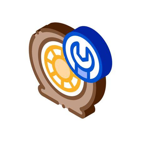 Wheel Repair Icon Vector. Isometric Wheel Repair sign. color isolated symbol illustration