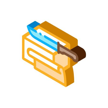 butter slices icon vector. isometric butter slices sign. color isolated symbol illustration