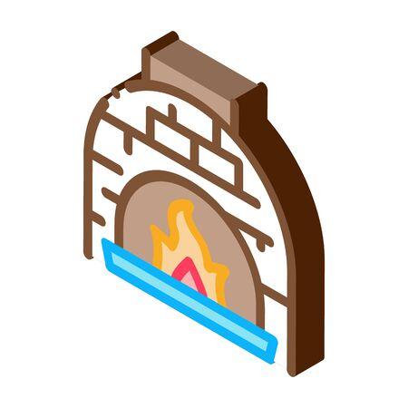 Burn Flame Oven Icon Vector. Isometric Burn Flame Oven isometric sign. color isolated symbol illustration