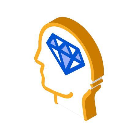 Diamond Man Hat Icon Vector. Isometric Diamond Man Hat isometric sign. color isolated symbol illustration