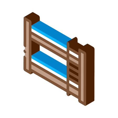 Bunk Bed Icon Vector. Isometric Bunk Bed sign. color isolated symbol illustration