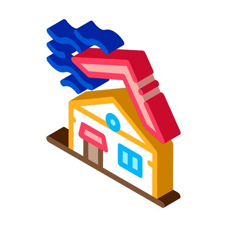 Roof Tear Down Icon Vector. Isometric Roof Tear Down isometric sign. color isolated symbol illustration