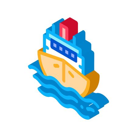 Cruise Vessel Icon Vector. Isometric Cruise Vessel sign. color isolated symbol illustration