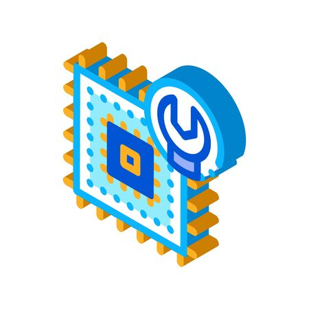 Chip Repair Icon Vector. Isometric Chip Repair sign. color isolated symbol illustration