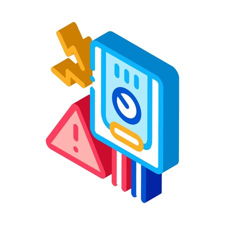 Short Circuit Icon Vector. Isometric Short Circuit sign. color isolated symbol illustration