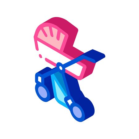 Baby Carriage Icon Vector. Isometric Baby Carriage sign. color isolated symbol illustration
