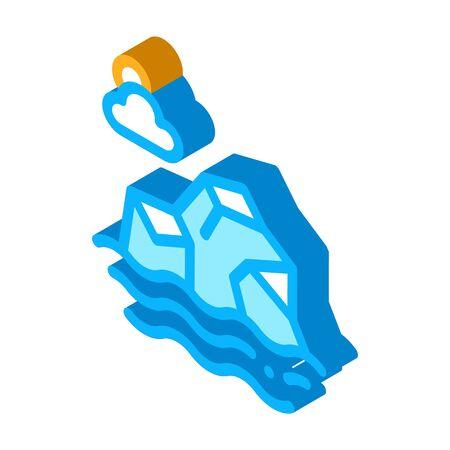 Iceberg in Sea Icon Vector. Isometric Iceberg in Sea sign. color isolated symbol illustration Illustration