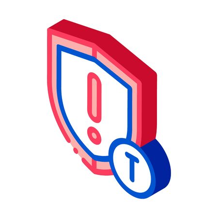 Cautionary Shield Icon Vector. Isometric Cautionary Shield isometric sign. color isolated symbol illustration Illustration