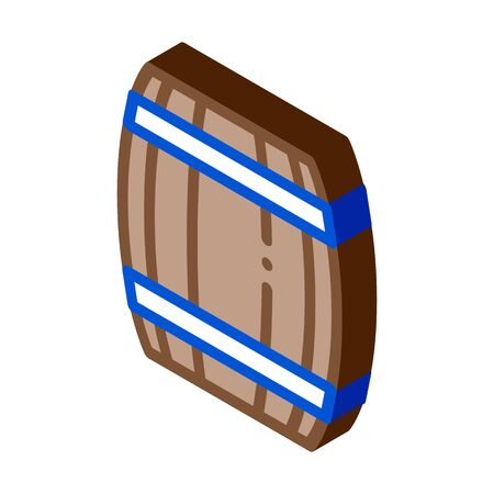 Wooden Barrel Icon Vector. Isometric Wooden Barrel isometric sign. color isolated symbol illustration  イラスト・ベクター素材