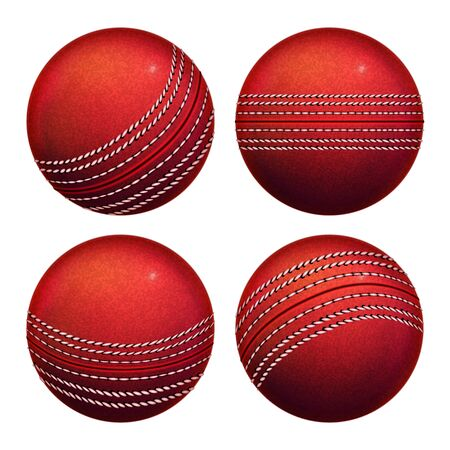 Cricket Leather Ball Sportive Equipment Set Vector. Collection Of Cricket Sport Tool With Circle Stitch Different Side. Team Play Game With Wooden Bat On Field Arena Template Realistic 3d Illustrations Illustration