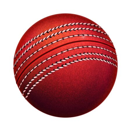 Cricket Leather Ball Sportive Equipment Vector. Red Cricket Sport Tool With Circle Stitch. Team Playground Activity Game With Wooden Bat On Field Area Template Realistic 3d Illustration