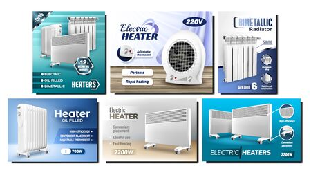 Heater Radiators Promotional Posters Set Vector. Heater Panel And Heating System Appliance Collection Of Different Creative Advertising Marketing Banners. Color Concept Template Illustrations