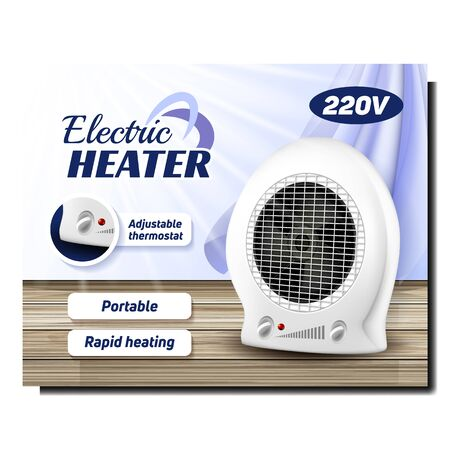 Electric Heater Portable Tool Promo Banner Vector. Heater With Adjustable Thermostat And Ventilator Standing On Wooden Floor Creative Advertising Marketing Poster. Color Concept Layout Illustration