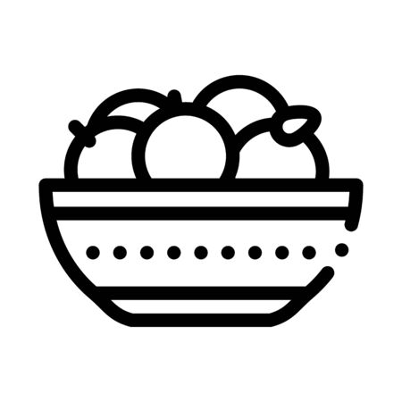 bowl of oranges icon vector. bowl of oranges sign. isolated contour symbol illustration  イラスト・ベクター素材