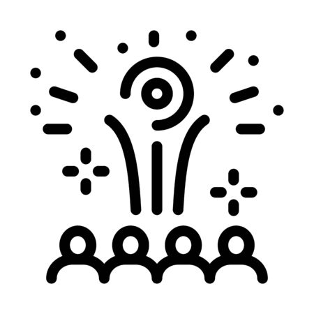 contemplation by people of fireworks icon vector. contemplation by people of fireworks sign. isolated contour symbol illustration