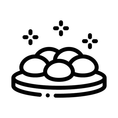 round stones on wooden board icon vector. round stones on wooden board sign. isolated contour symbol illustration