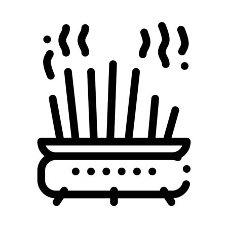 cast-iron pot with chopsticks icon vector. cast-iron pot with chopsticks sign. isolated contour symbol illustration