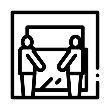 freight movers hold glass icon vector. freight movers hold glass sign. isolated contour symbol illustration