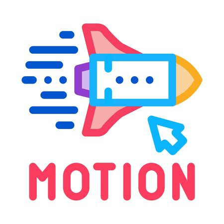 work with rocket objects in action icon vector. work with rocket objects in action sign. color symbol illustration