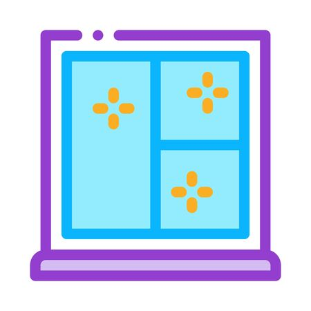shockproof glass in window icon vector. shockproof glass in window sign. color symbol illustration