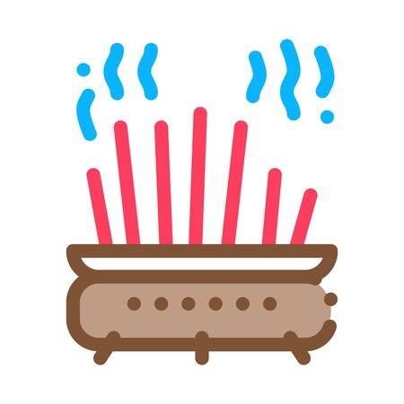 cast-iron pot with chopsticks icon vector. cast-iron pot with chopsticks sign. color symbol illustration