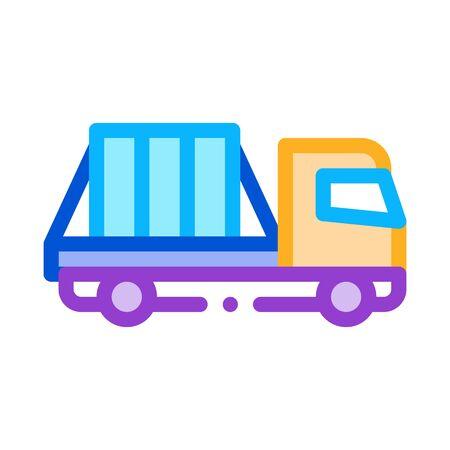 glass transportation truck icon vector. glass transportation truck sign. color symbol illustration