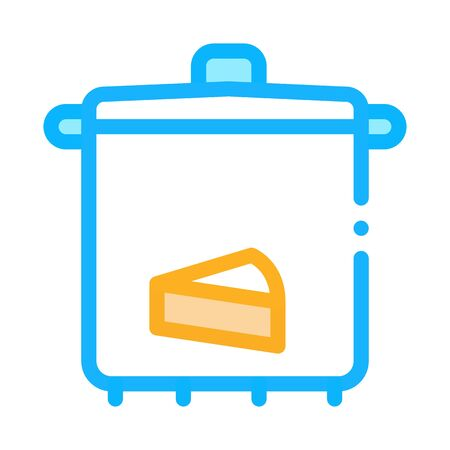 cheese soup pan icon vector. cheese soup pan sign. color symbol illustration Illustration