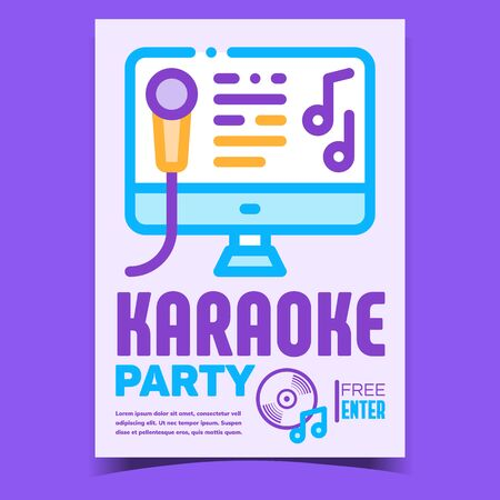 Karaoke Party Creative Promotional Poster Vector. Microphone And Song Text On Computer Display, Karaoke Music Club On Advertising Banner. Concept Template Stylish Colorful Illustration