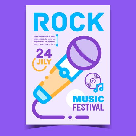Rock Music Festival Creative Promo Banner Vector. Microphone Electronic Gadget Device For Sing Song, Music Concert Advertising Poster. Concept Template Stylish Colorful Illustration
