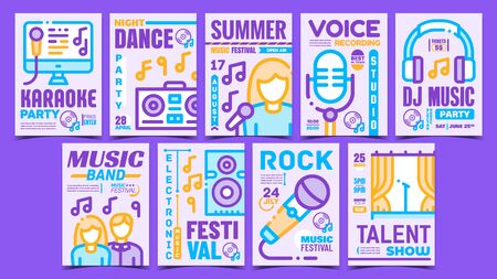 Music Concert Creative Promo Posters Set Vector. Rock And Dj Electro Music, Karaoke And Dancing Club, Talent And Voice Show Advertising Banners. Concept Template Stylish Colorful Illustrations