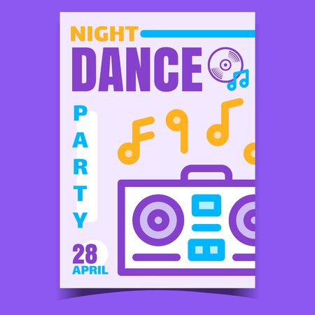 Night Dance Party Creative Promo Banner Vector. Record Player Electronic Equipment Playing Music For Dance Or Listening Musician Composition Advertising Poster. Concept Layout Style Color Illustration