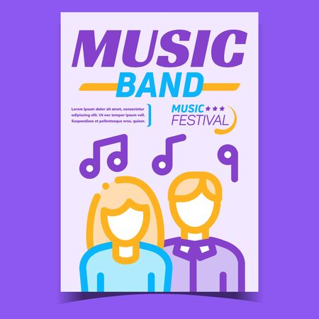 Music Band Creative Promotional Banner Vector. People Man And Woman Signer Or Dancer And Notes, Music Festival Concert Advertising Poster. Concept Template Stylish Colorful Illustration