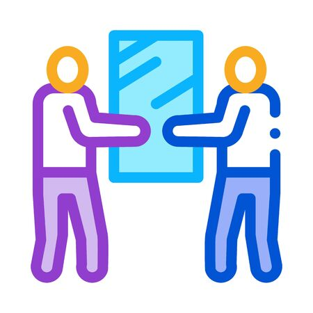 people holding glass icon vector. people holding glass sign. color symbol illustration