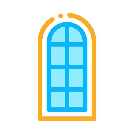arched window consisting of square glasses icon vector. arched window consisting of square glasses sign. color symbol illustration 向量圖像