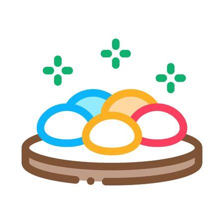 round stones on wooden board icon vector. round stones on wooden board sign. color symbol illustration