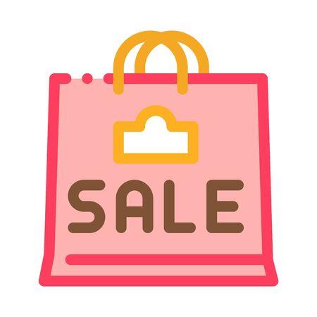 sale paper bag icon vector. sale paper bag sign. color symbol illustration