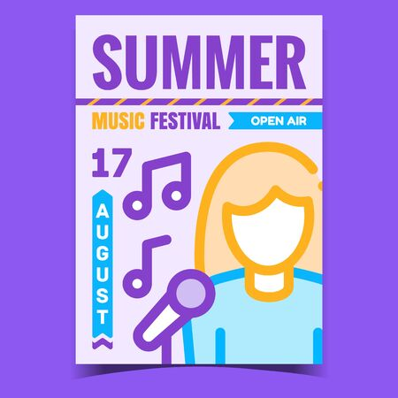 Summer Music Festival Creative Promo Poster Vector. Woman Singing Song, Melody Composition, Microphone And Music Notes On Advertising Banner. Concept Template Style Color Illustration