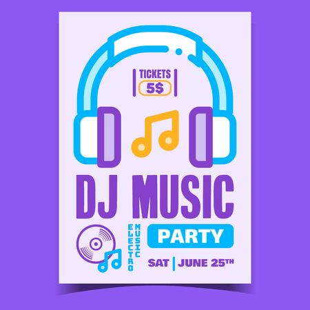 Dj Music Party Creative Promotional Poster Vector. Headphones Earphones Equipment, Notes And Playing Play On Electro Music Advertising Banner. Concept Template Stylish Colored Illustration