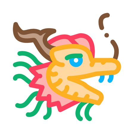 mask of chinese dragon icon vector. mask of chinese dragon sign. color symbol illustration Stock Illustratie