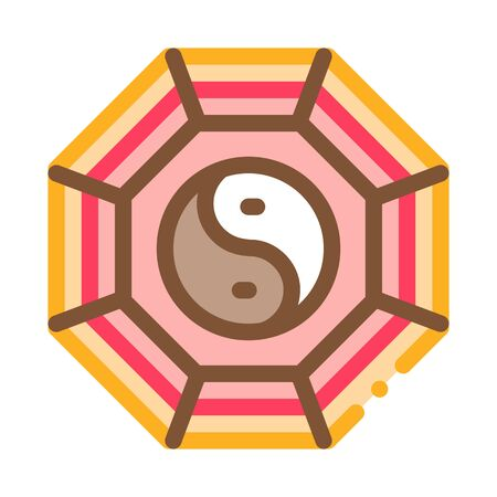 rug with yin yang pattern top view icon vector. rug with yin yang pattern top view sign. color symbol illustration Ilustração Vetorial