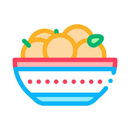 bowl of oranges icon vector. bowl of oranges sign. color symbol illustration