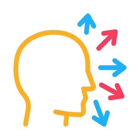 human head and arrows icon vector. human head and arrows sign. color symbol illustration