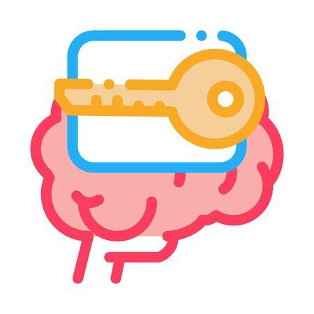 key for brain icon vector. key for brain sign. color symbol illustration