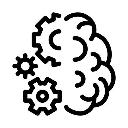 brain work mechanical gears icon vector. brain work mechanical gears sign. isolated contour symbol illustration 向量圖像