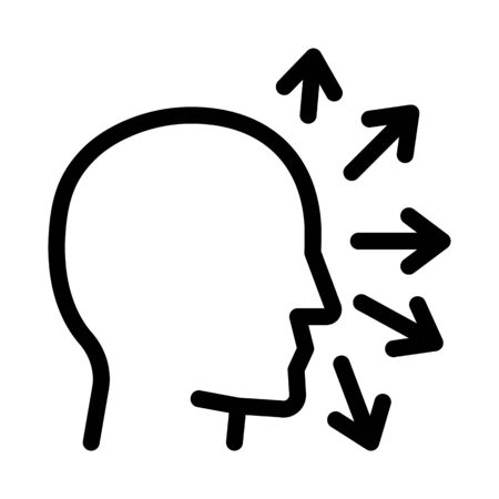 human head and arrows icon vector. human head and arrows sign. isolated contour symbol illustration